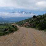 The unpaved road. In the background is Čvrsnica mountain.