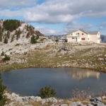 The hut and small lake at Orjen saddle