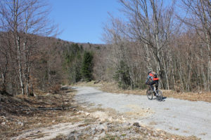 The unpaved road section