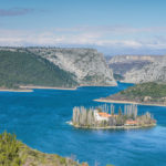 Visovac lake and monastery in National Park Krka