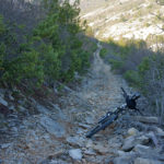The rocky singletrack on the section Roški Slap - Brištane