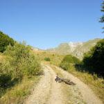 The steep carriageway next to Pobeda hut on Korab mountain
