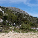 The end of the carriageway section. The starting point of hiking section towards Sveti Ilija on Pelješac peninsula.