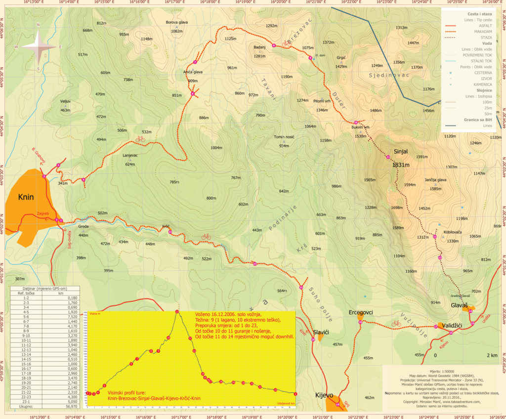 The map of Kninska Dinara