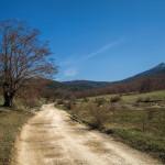 The trail near Gornje Peulje. On the right is Šator mountain.