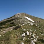 The hiking trail on the ridge of Cincar mountain