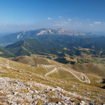 The view from the peak of Bjelašnica mountain. In the background is Treskavica mountain.