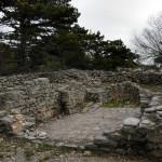 The ruins of the Christian chapel Sveti Vid next to Vidova Gora peak.