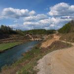 The new building site of the bridge over Dobra river