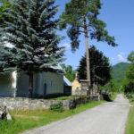 The paved road near the church in Bakovac Kosinjski village