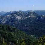 The view from Mali Rajinac to the cliffs Hajdučki Kukovi, Rožanski Kukovi, Kozjak peak and Lomska Duliba valley.