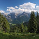 The view from peak Peč (Tromeja) to Julian Alps