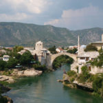The bridge in Mostar town over Neretva river.
