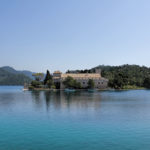 The Great Lake on The Island of Mljet and Benedictine monastery at Saint Mary (Sv. Marija) Island.