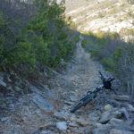 The rocky singletrack on the section Roški Slap - Brištane
