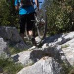 Hiking with the bike on the trail towards Sveti Ilija on Pelješac peninsula