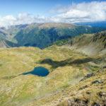 The lakes below the ridge of Făgăraș Mountains on Southern Carpathians mountain