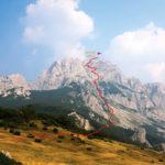 The hiking trail on Maglić mountain from Prijevor to Maglić peak.
