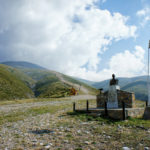 The monument at the carriageway section from military base to Mytikas peak on Mount Olympus